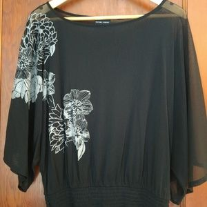 New York & Company Sheer black blouse